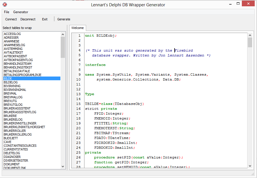 Database codegen | Jon L  Aasenden