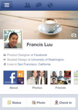 Facebook profile page