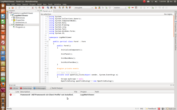C# under Ubuntu works like a charm