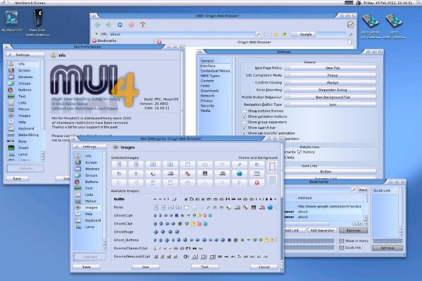 MorphOS looks like a blend of Amiga / Linux meets Windows