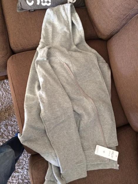 A plain, sad looking, grey hoodie - with a hood!
