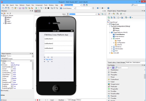 Delphi XE7 supports iOS, Android, Win32, OS X with a variety of project types