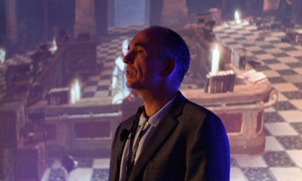 Peter Molyneux talking about his games at the Develop conference in 2010. Photograph: Develop