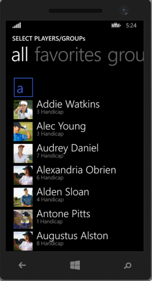 Windows 8.1 mobile category header