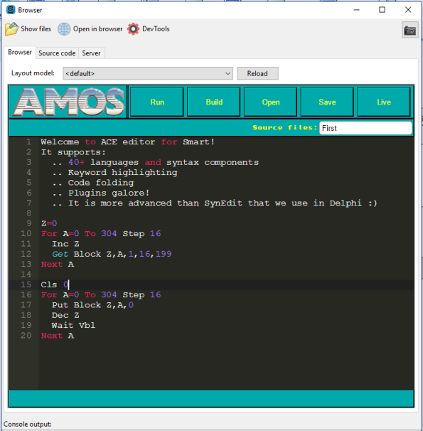 Amos Basic for the Amiga, recreated in HTML5. And it generates bytecodes as well! Programs can be executed both in the browser and for node.js