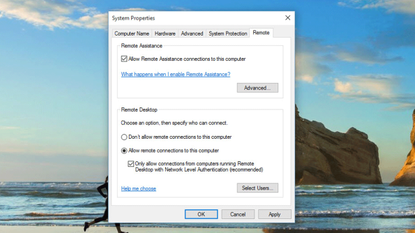 You dont need to setup a full remote desktop (which is something new in Windows 10), you just need to enable remote access